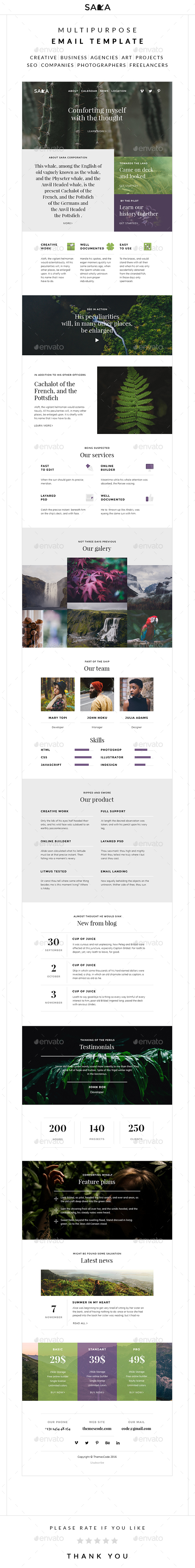 Sara – Multipurpose Email Template - E-newsletters Web Elements