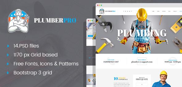 PlumberPro – Handyman/Plumber Service PSD Template