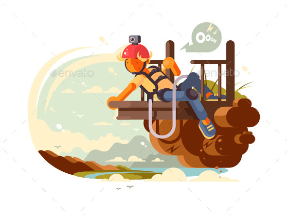 Man Bungee Jumping - People Characters