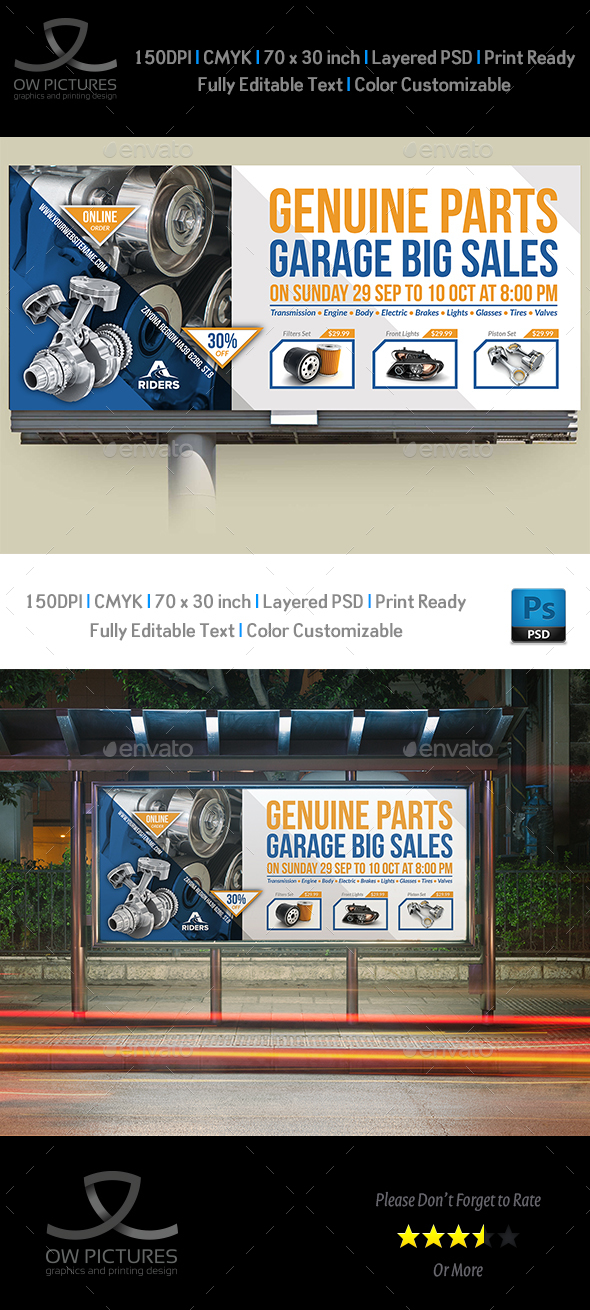 Auto Parts Billboard Template - Signage Print Templates