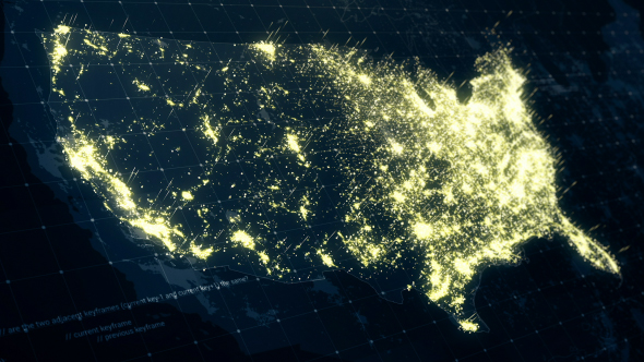 USA Map Night At Light K By Rodionova VideoHive - Us map night