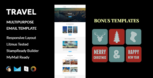 Image of Travel + Christmas and  New Year Bonus Templates with Stampready Builder access