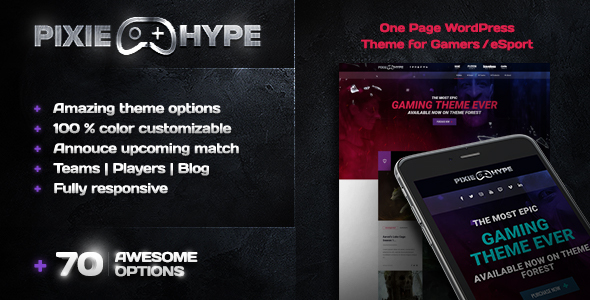 PixieHype | One page WordPress theme for Gamers/eSport - Entertainment WordPress