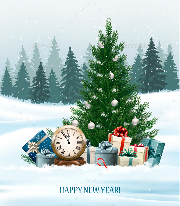 Holiday Background With A Christmas Tree Vector - New Year Seasons/Holidays