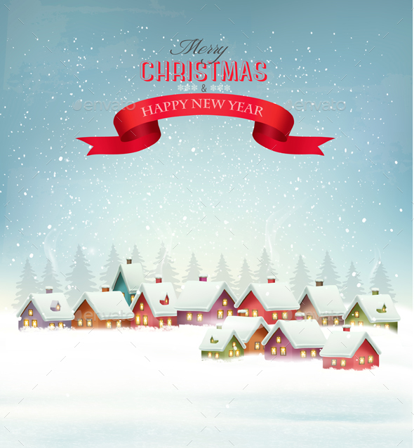 Winter Christmas Background with a Snowy Village Vector - Christmas Seasons/Holidays