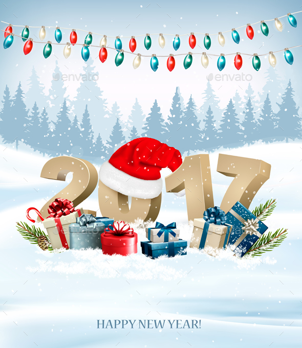 New Year Background With A 2017 And Santa Hat Vector - New Year Seasons/Holidays