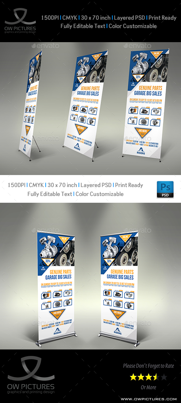 Auto Parts Signage Roll-Up Banner Template - Signage Print Templates
