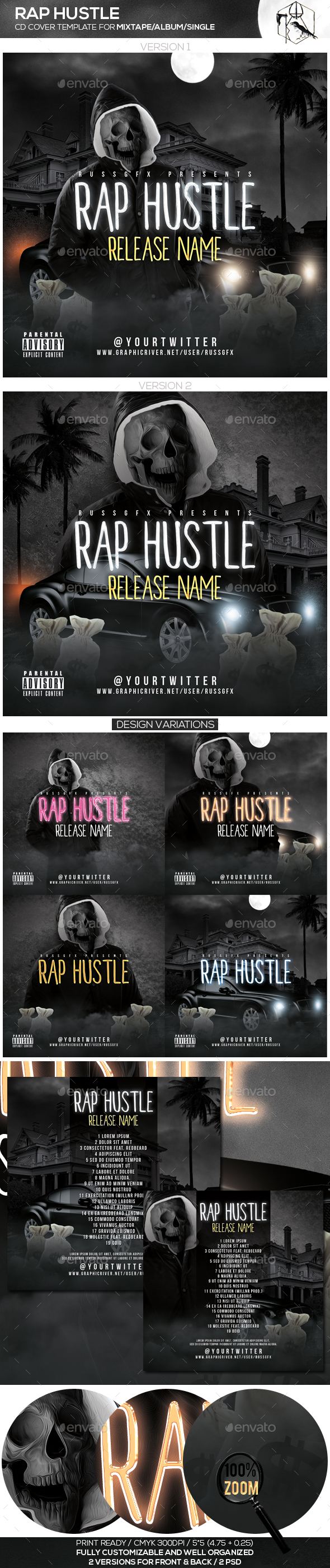 Rap Hustle PSD CD Mixtape Cover Template by russgfx | GraphicRiver