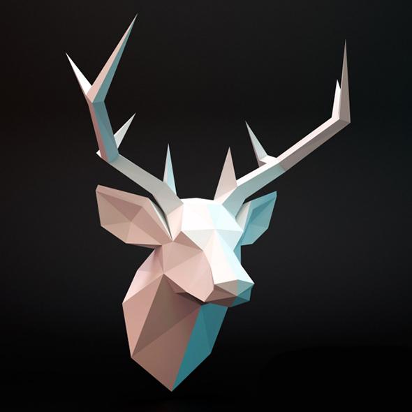 Deer head lowpoly - 3DOcean Item for Sale