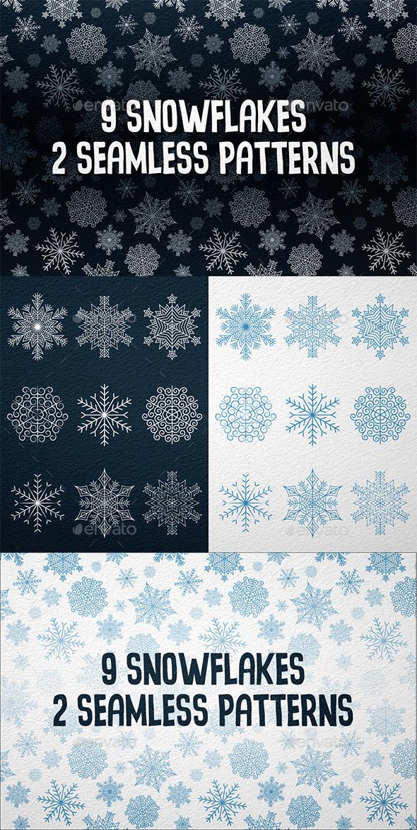 9 Snowflakes 2 patterns - Seasons/Holidays Conceptual