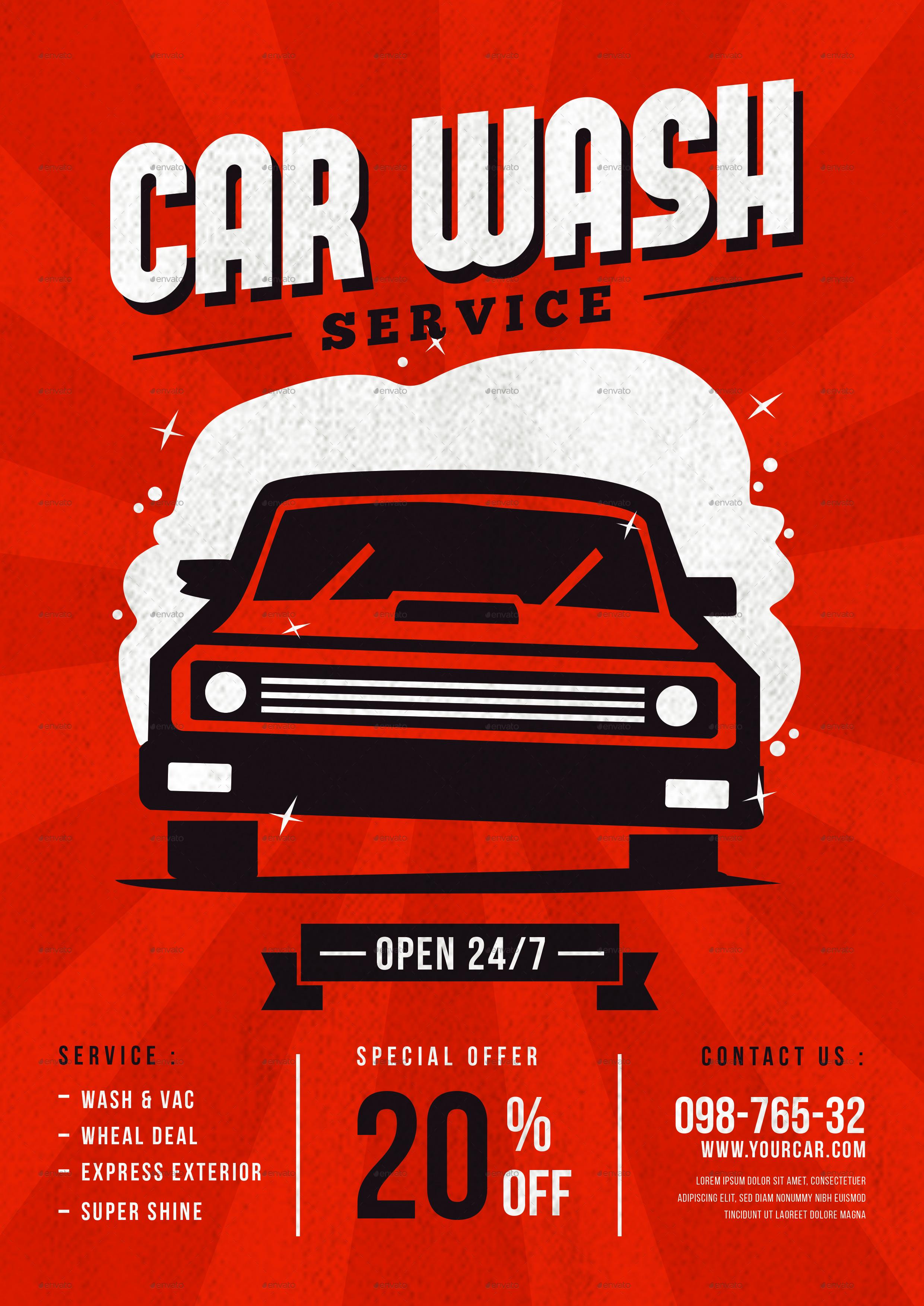 Car Wash Service Flyer by tokosatsu   GraphicRiver
