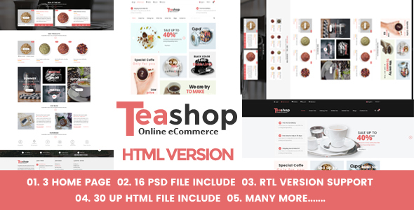 Teashop eCommerce HTML Template - Food Retail