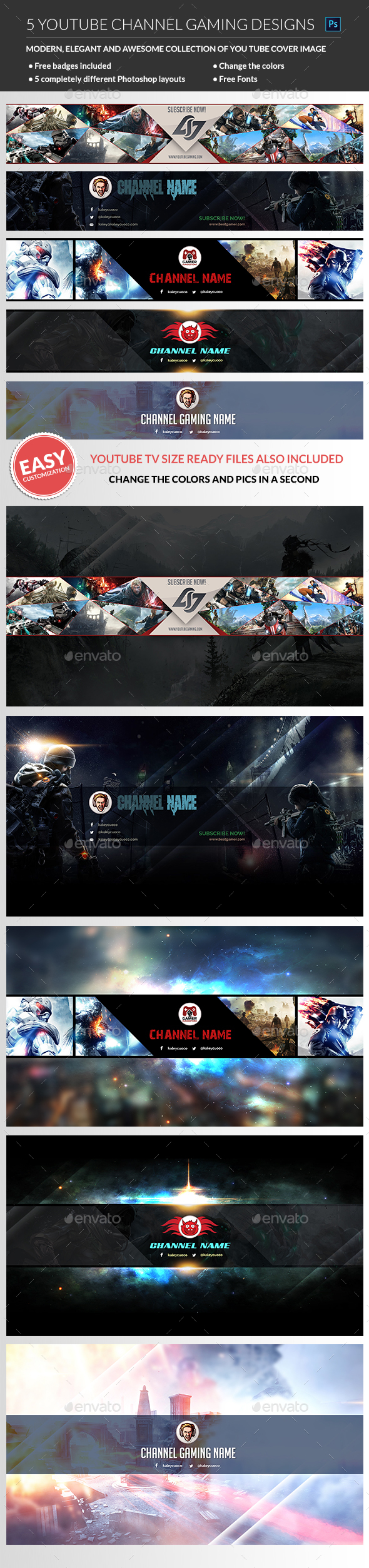 Gaming Youtube Channel Banner By Madridnyc Graphicriver