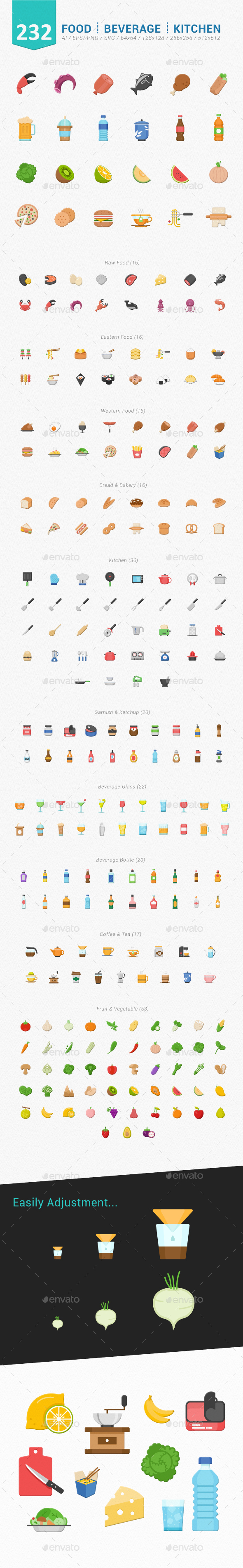 232Food Beverage Kitchen Color Icons - Food Objects