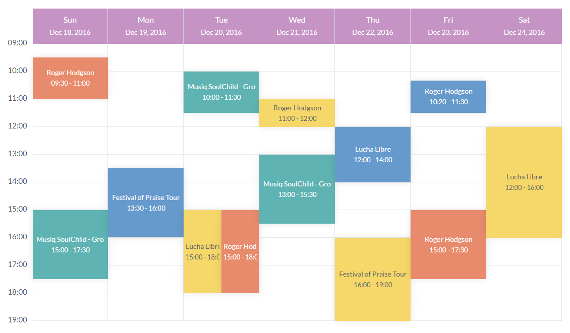 Monthly Calendar Using Javascript : Tiva timetable by theme codecanyon