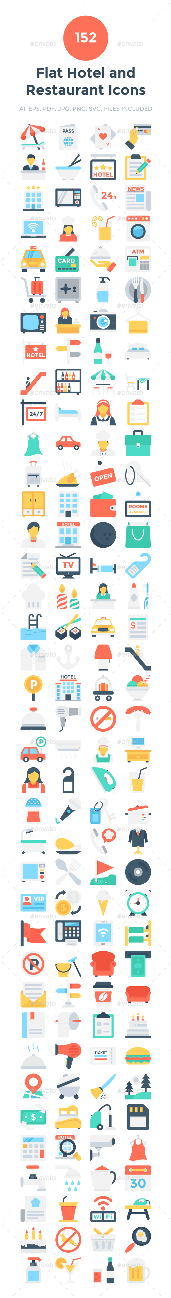 152 Flat Hotel and Restaurant Icons - Icons
