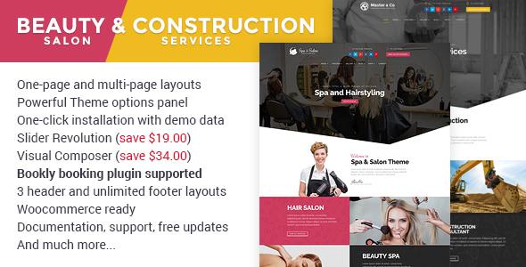 Beauty Salon & Construction Services WordPress Theme
