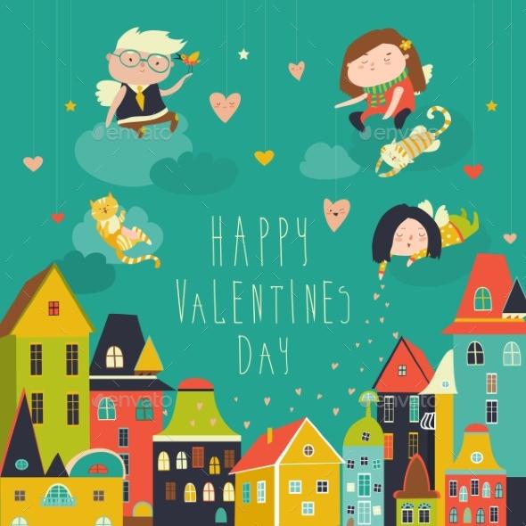 Cute Angels Celebrating Valentines Day - Valentines Seasons/Holidays