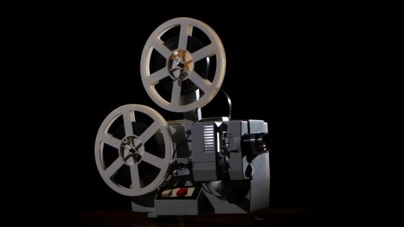 Old Projector Showing Film  Studio Black Background