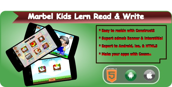 Download Marbel Kids Learning Read & Write HTML5 Mobile Applications + Admob nulled version