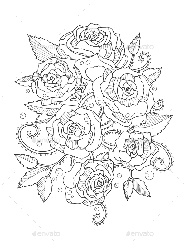 Roses coloring book for adults tattoos vectors