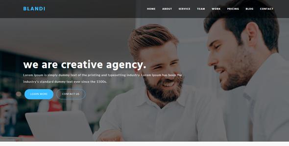 Blandi – Minimalist Onepage Agency HTML Template