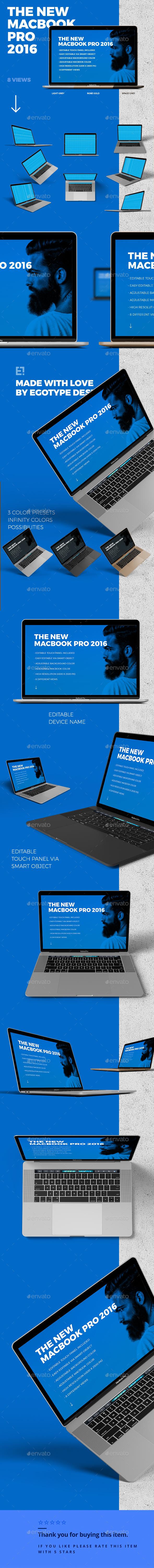 MacBook 2016 Mockup - Laptop Displays