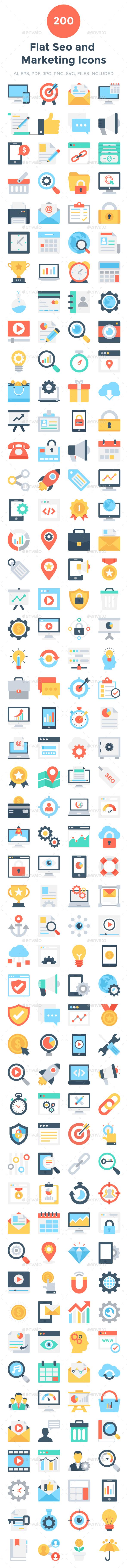 200 Flat Seo and Marketing Icons - Icons