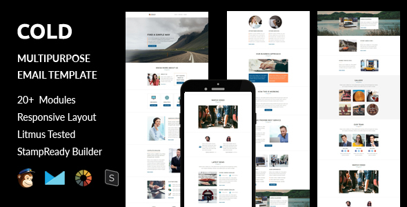 Cold – Multipurpose Responsive Email Template + Stampready Builder