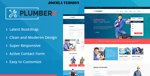 Image of Plumberx - Plumber and Construction Joomla Template