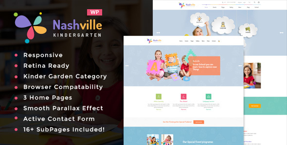 Nashville — Day Care & Kindergarten School WordPress Theme for Children