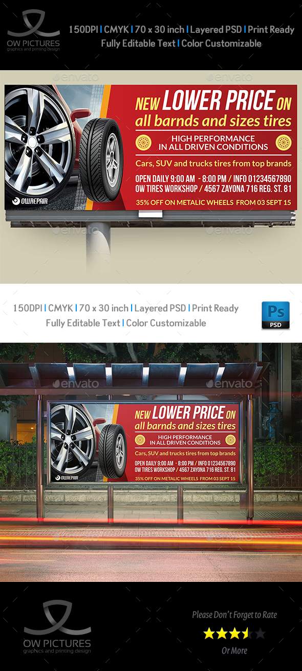 Tires Shop Billboard Template - Signage Print Templates