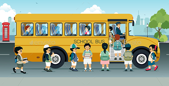 Students are Walking on the Bus - People Characters