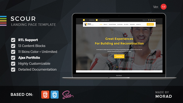 Scour – Contstruction HTML Landing Page