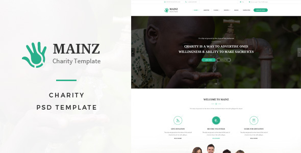 Mainz : Charity PSD Template - Charity Nonprofit