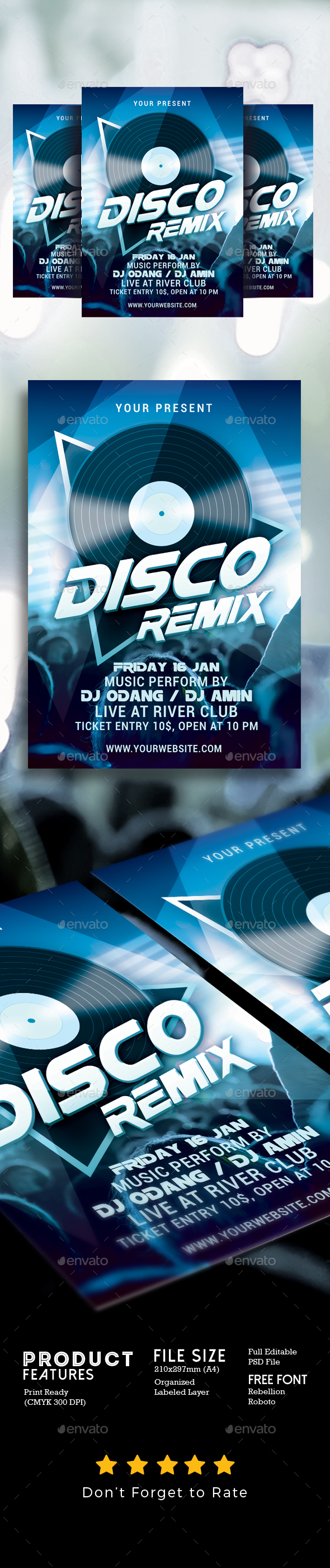 Disco Remix Party Flyer - Clubs & Parties Events