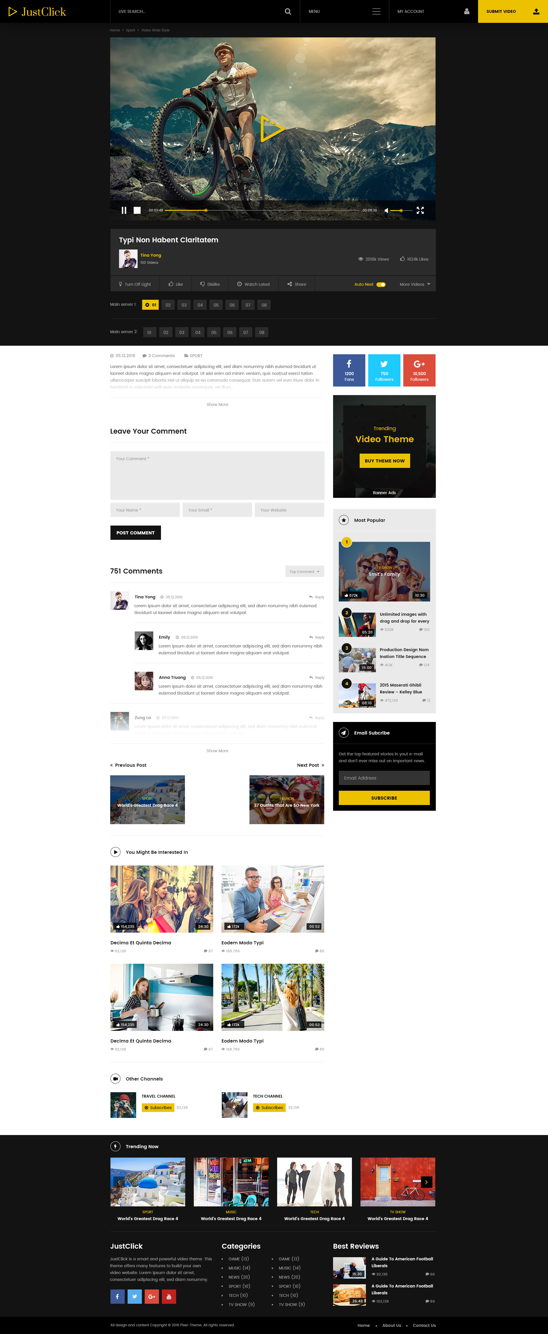 Justclick Powerful Video Template By Pixel Theme Themeforest