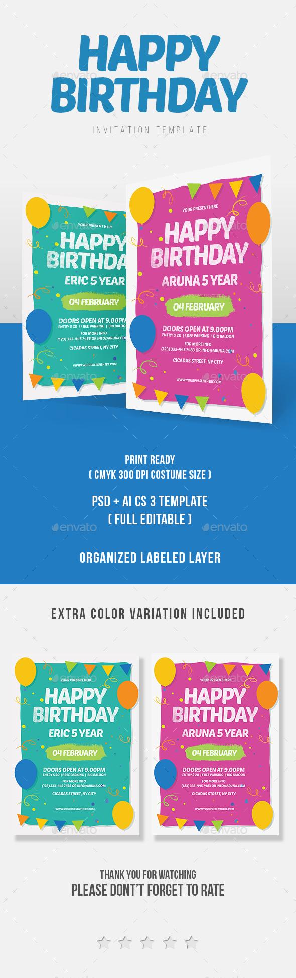 Happy Birthday Invitation - Invitations Cards & Invites