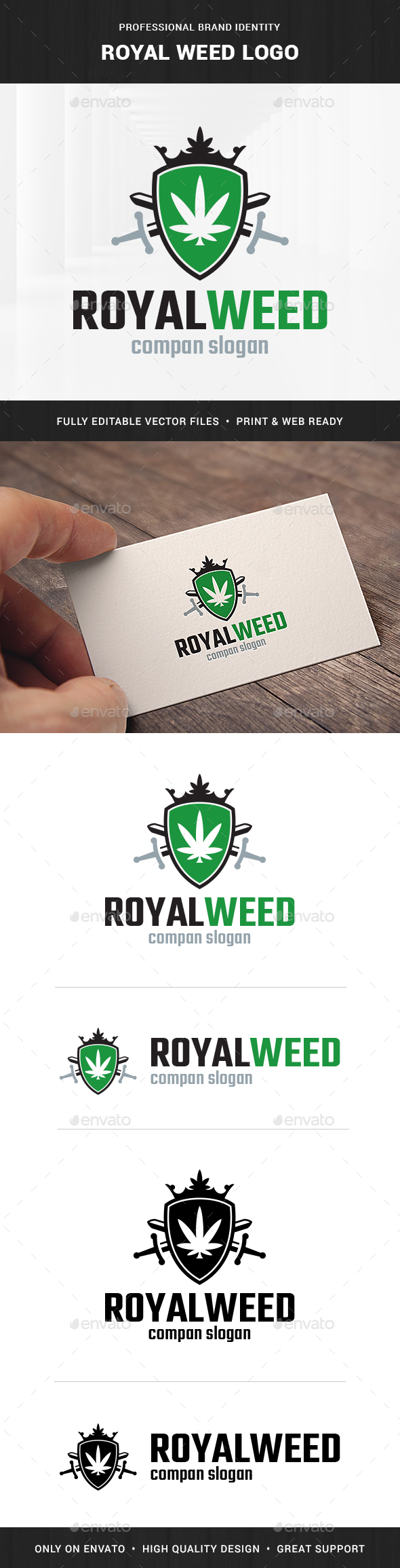 Royal Weed Logo Template - Crests Logo Templates