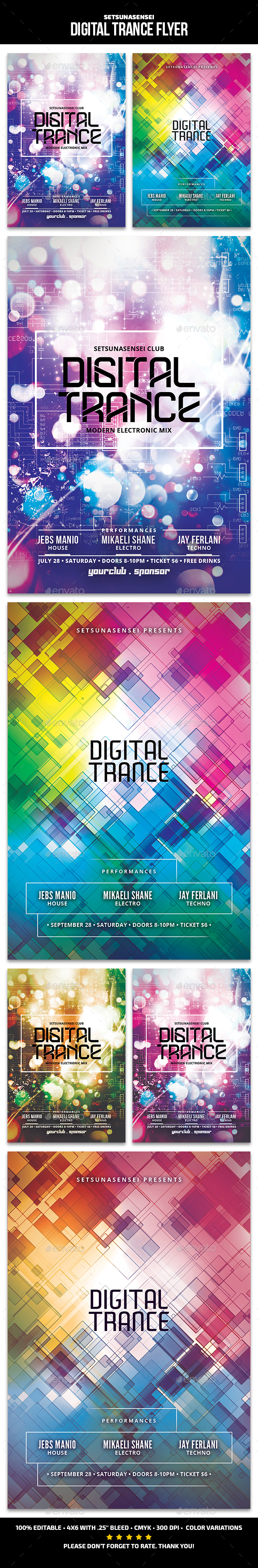 Digital Trance Flyer - Clubs & Parties Events