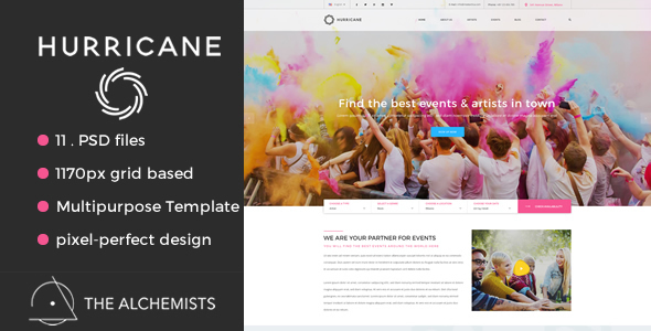 Hurricane – Events & Artists Multipurpose PSD Template