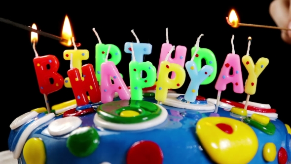 Play preview video & Light Fires Colored Happy Birthday Candles by OlegDoroshin | VideoHive
