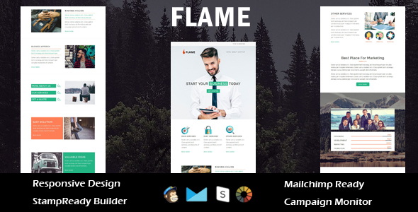 Flame – Multipurpose Responsive Email Template + Stampready Builder