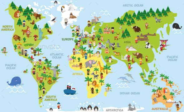 Cartoon world map by 79dsigns graphicriver cartoon world map miscellaneous vectors gumiabroncs Choice Image