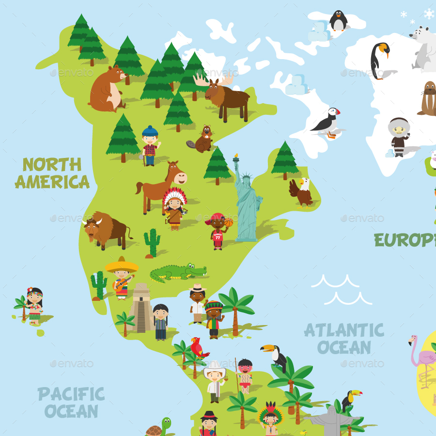 Cartoon World Map by 79dsigns | GraphicRiver