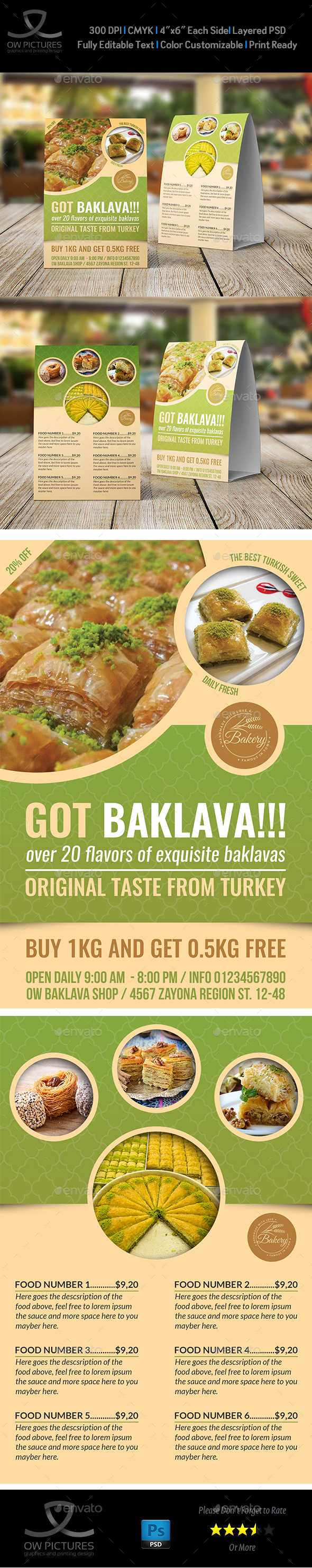 Baklava Table Tent Template - Food Menus Print Templates