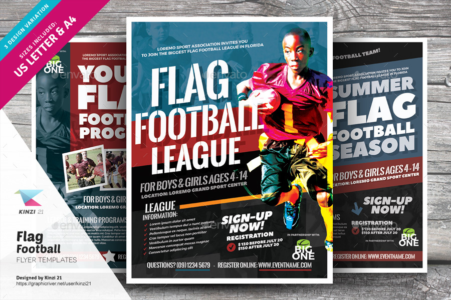 Flag Football Flyer Templates By Kinzi21 | Graphicriver