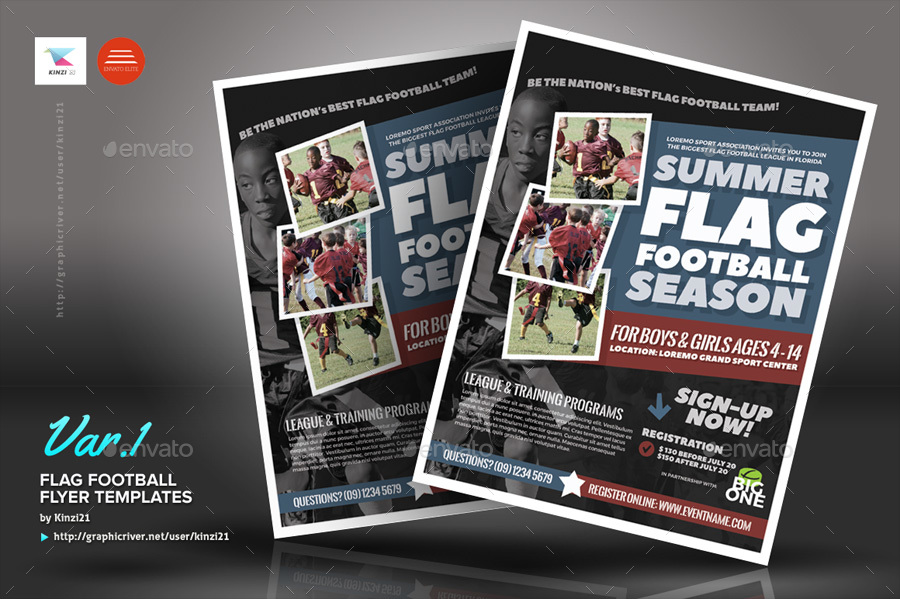 Flag Football Flyer Templates By Kinzi21 Graphicriver