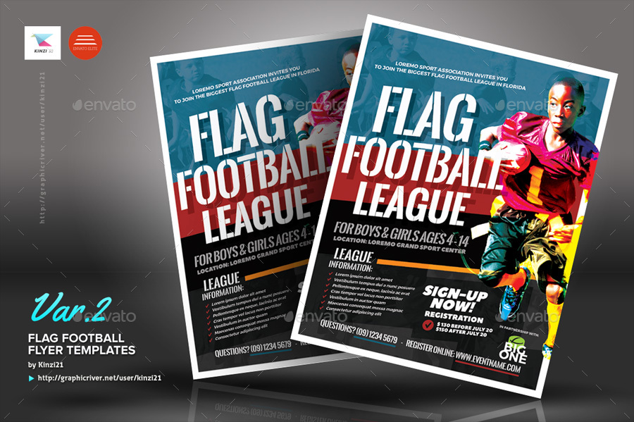 Flag Football Flyer Templates By Kinzi  Graphicriver