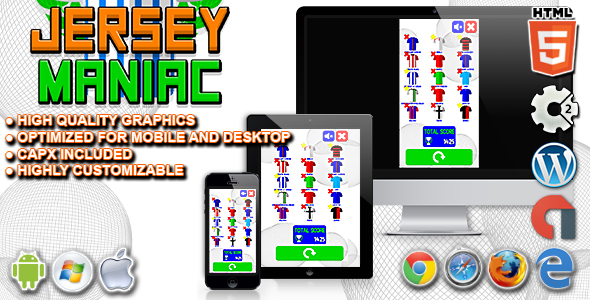 Jersey Maniac - HTML5 Construct 2 Football Quiz Game - CodeCanyon Item for Sale